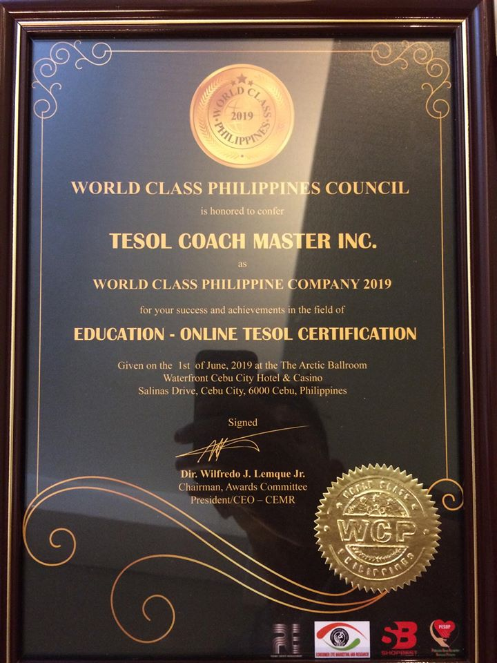 TESOL COACH MASTER INC. as World Class Philippine Company 2019